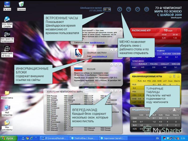 ТУРНИРНЫЕ ТАБЛИЦЫ Результаты матчей подкачиваются ходу чемпионата ИНФОРМАЦИОННЫЕ БЛОКИ содержат внешние ссылки на сайты ВСТРОЕННЫЕ ЧАСЫ Показывают Швейцарское время независимо от времени пользователя ВПЕРЕД-НАЗАД Каждый блок содержит несколько окон,