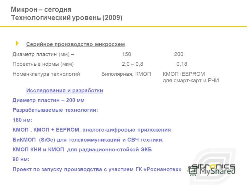 Микрон – сегодня Технологический уровень (2009) Серийное производство микросхем Диаметр пластин (мм) – 150 200 Проектные нормы (мкм)2,0 – 0,80,18 Номенклатура технологийБиполярная, КМОПКМОП+EEPROM для смарт-карт и РЧИ Исследования и разработки Диамет