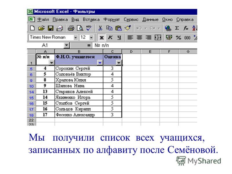 Мы получили список всех учащихся, записанных по алфавиту после Семёновой.