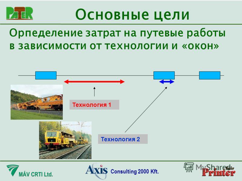 Consulting 2000 Kft. Орпеделение затрат на путевые работы в зависимости от технологии и «окон» Основные цели Технология 1 Технология 2