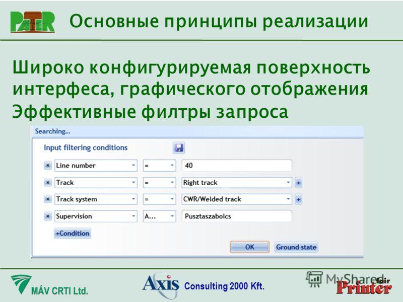 Consulting 2000 Kft. Широко конфигурируемая поверхность интерфеса, графического отображения Основные принципы реализации Эффективные филтры запроса