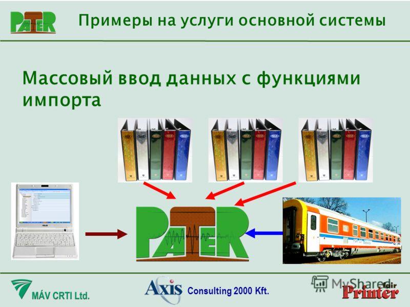 Consulting 2000 Kft. Массовый ввод данных с функциями импорта Примеры на услуги основной системы