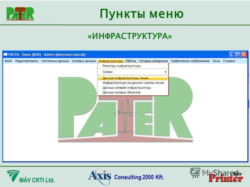 Consulting 2000 Kft. Пункты меню «ИНФРАСТРУКТУРА»