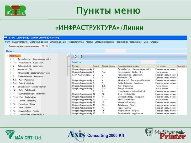 Consulting 2000 Kft. Пункты меню «ИНФРАСТРУКТУРА»/Линии