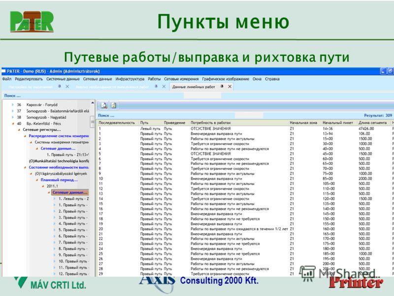 Consulting 2000 Kft. Пункты меню Путевые работы/выправка и рихтовка пути