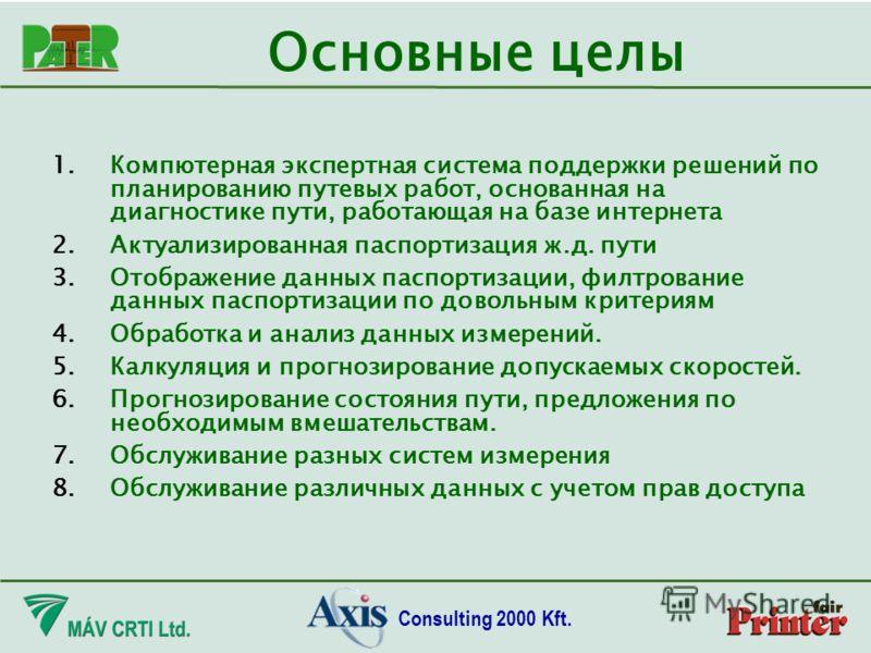 Consulting 2000 Kft. 1.Компютерная экспертная система поддержки решений по планированию путевых работ, основанная на диагностике пути, работающая на базе интернета 2.Актуализированная паспортизация ж.д. пути 3.Отображение данных паспортизации, филтро