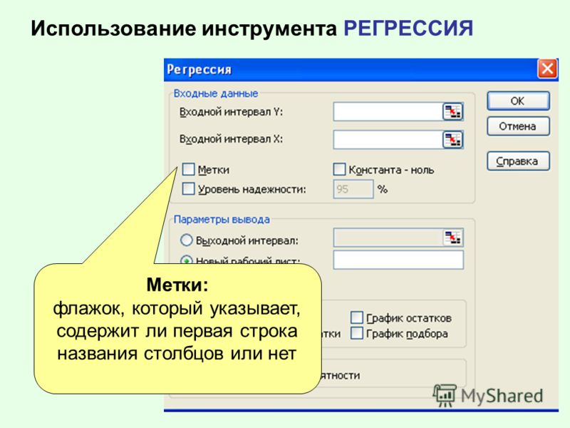 Использование инструмента РЕГРЕССИЯ Метки: флажок, который указывает, содержит ли первая строка названия столбцов или нет