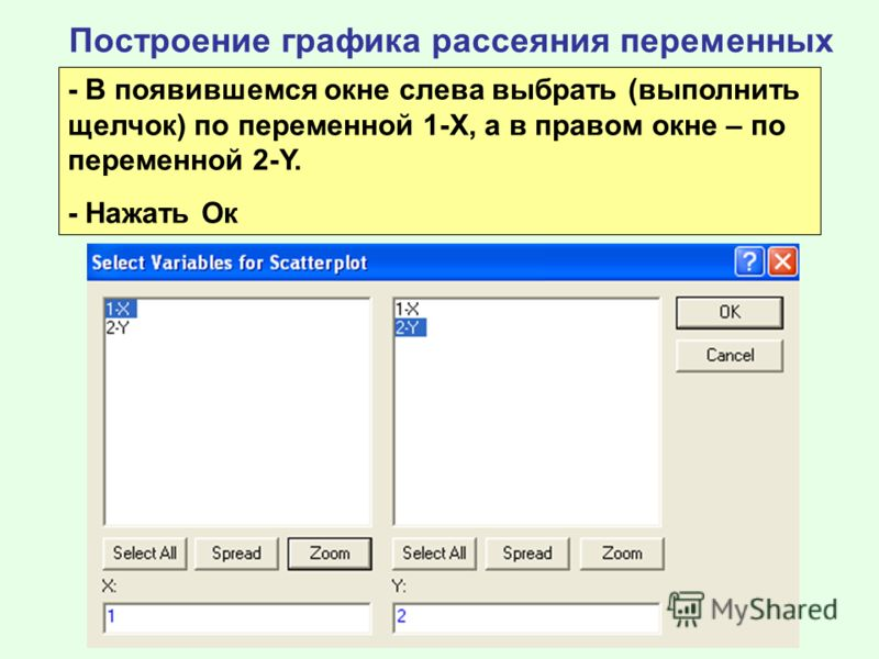 Построение графика рассеяния переменных - В появившемся окне слева выбрать (выполнить щелчок) по переменной 1-Х, а в правом окне – по переменной 2-Y. - Нажать Ок