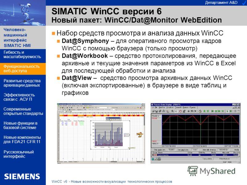 Департамент A&D Человеко- машинный интерфейс SIMATIC HMI WinCC v6 - Новые возможности визуализации технологических процессов SIMATIC WinCC версии 6 Новый пакет: WinCC/Dat@Monitor WebEdition Набор средств просмотра и анализа данных WinCC Dat@Symphony
