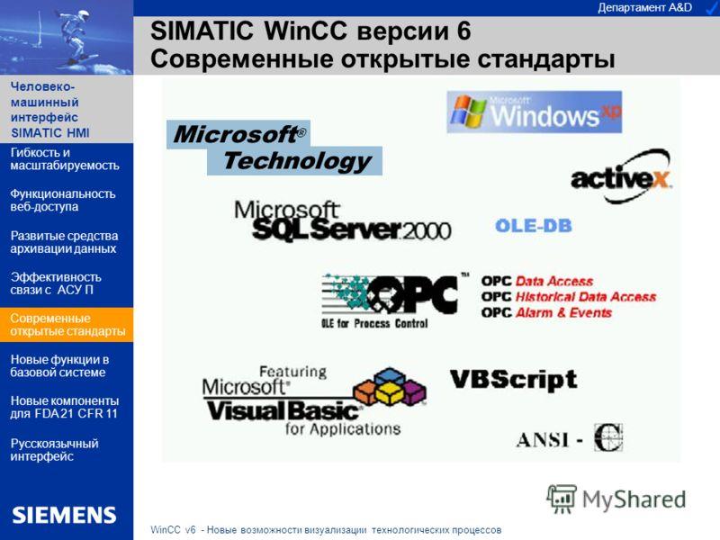 Департамент A&D Человеко- машинный интерфейс SIMATIC HMI WinCC v6 - Новые возможности визуализации технологических процессов SIMATIC WinCC версии 6 Современные открытые стандарты Гибкость и масштабируемость Функциональность веб-доступа Эффективность