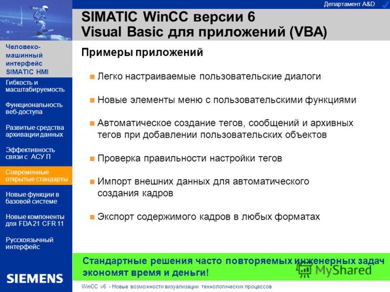 Департамент A&D Человеко- машинный интерфейс SIMATIC HMI WinCC v6 - Новые возможности визуализации технологических процессов SIMATIC WinCC версии 6 Visual Basic для приложений (VBA) Примеры приложений Легко настраиваемые пользовательские диалоги Новы