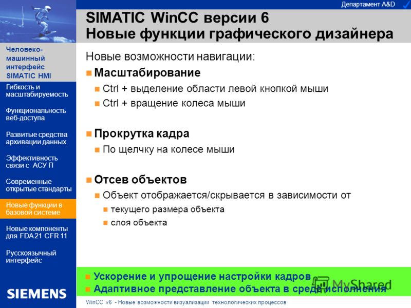 Департамент A&D Человеко- машинный интерфейс SIMATIC HMI WinCC v6 - Новые возможности визуализации технологических процессов SIMATIC WinCC версии 6 Новые функции графического дизайнера Новые возможности навигации: Масштабирование Ctrl + выделение обл