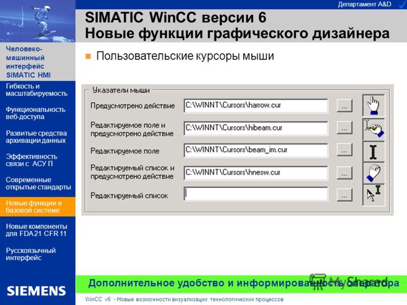 Департамент A&D Человеко- машинный интерфейс SIMATIC HMI WinCC v6 - Новые возможности визуализации технологических процессов Дополнительное удобство и информированность оператора Пользовательские курсоры мыши SIMATIC WinCC версии 6 Новые функции граф