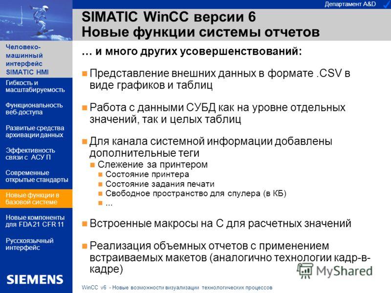 Департамент A&D Человеко- машинный интерфейс SIMATIC HMI WinCC v6 - Новые возможности визуализации технологических процессов SIMATIC WinCC версии 6 Новые функции системы отчетов … и много других усовершенствований: Представление внешних данных в форм