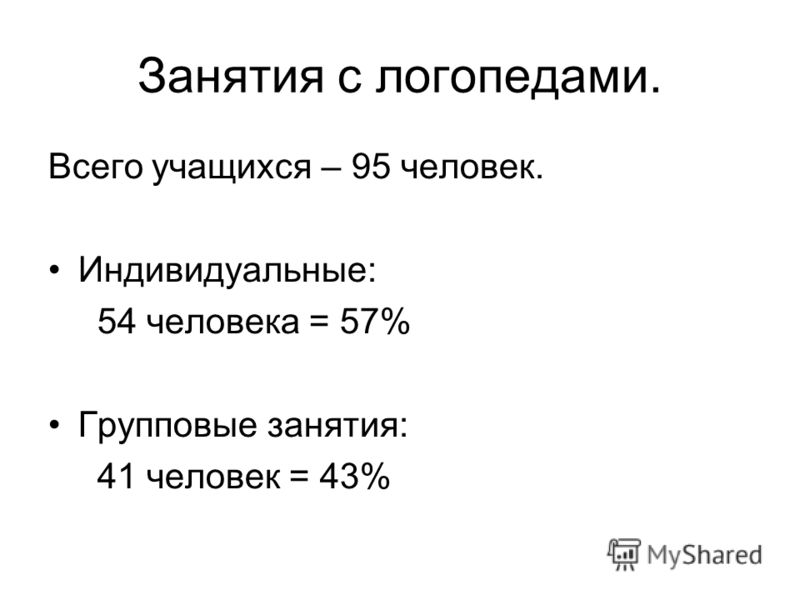 Занятия с логопедами. Всего учащихся – 95 человек. Индивидуальные: 54 человека = 57% Групповые занятия: 41 человек = 43%