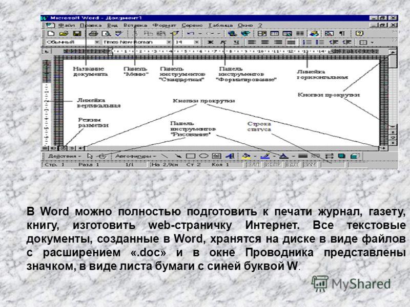В Word можно полностью подготовить к печати журнал, газету, книгу, изготовить web-страничку Интернет. Все текстовые документы, созданные в Word, хранятся на диске в виде файлов с расширением «.doc» и в окне Проводника представлены значком, в виде лис