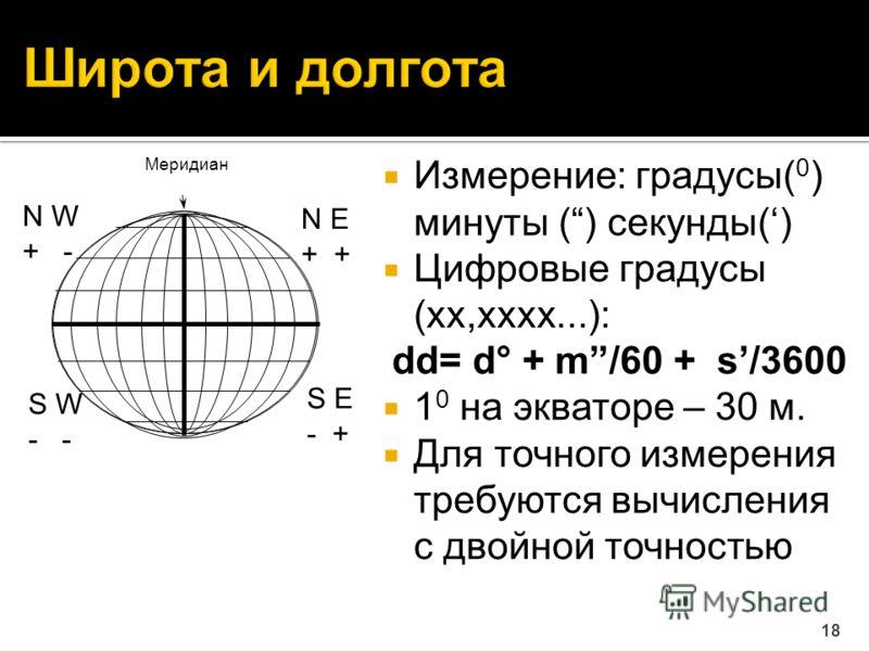 Измерение: градусы( 0 ) минуты () секунды() Цифровые градусы (xx,xxxx...): dd= d° + m/60 + s/3600 1 0 на экваторе – 30 м. Для точного измерения требуются вычисления с двойной точностью 18 N E + N W + - S E - + S W - Меридиан