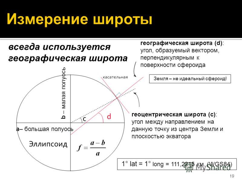 19 геоцентрическая широта (c): угол между направлением на данную точку из центра Земли и плоскостью экватора географическая широта (d): угол, образуемый вектором, перпендикулярным к поверхности сфероида всегда используется географическая широта a– бо