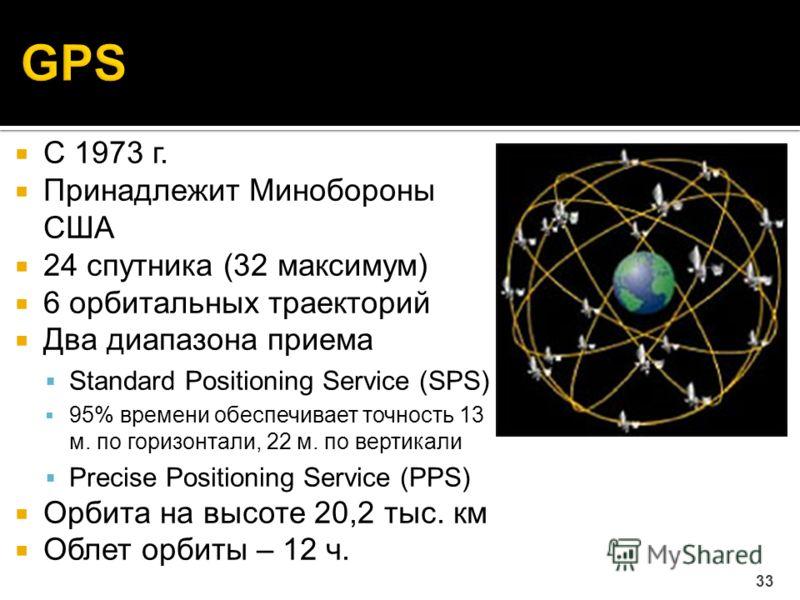 С 1973 г. Принадлежит Минобороны США 24 спутника (32 максимум) 6 орбитальных траекторий Два диапазона приема Standard Positioning Service (SPS) 95% времени обеспечивает точность 13 м. по горизонтали, 22 м. по вертикали Precise Positioning Service (PP