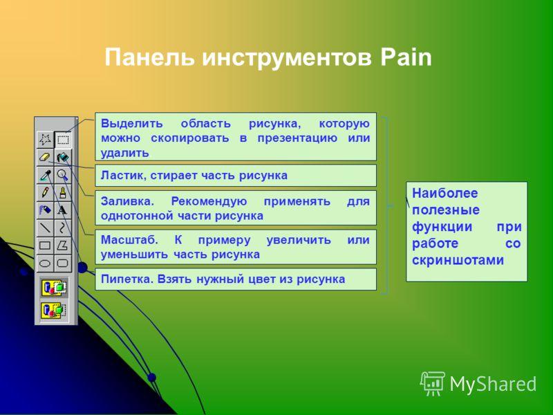 Панель инструментов Pain Выделить область рисунка, которую можно скопировать в презентацию или удалить. Ластик, стирает часть рисунка Заливка. Рекомендую применять для однотонной части рисунка Масштаб. К примеру увеличить или уменьшить часть рисунка