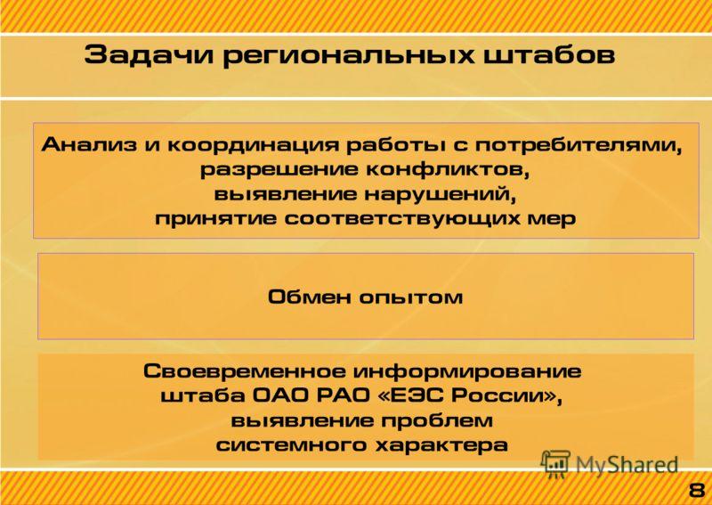 8 Задачи региональных штабов 8 Анализ и координация работы с потребителями, разрешение конфликтов, выявление нарушений, принятие соответствующих мер Обмен опытом Своевременное информирование штаба ОАО РАО «ЕЭС России», выявление проблем системного ха
