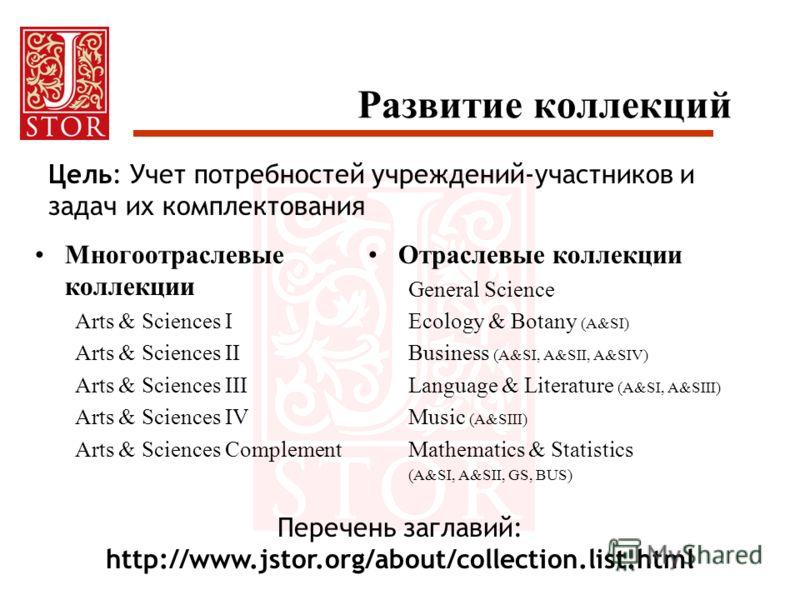 Развитие коллекций Многоотраслевые коллекции Arts & Sciences I Arts & Sciences II Arts & Sciences III Arts & Sciences IV Arts & Sciences Complement Отраслевые коллекции General Science Ecology & Botany (A&SI) Business (A&SI, A&SII, A&SIV) Language &