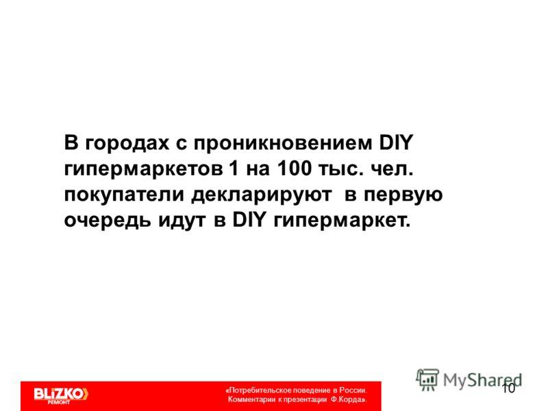 10 «Потребительское поведение в России. Комментарии к презентации Ф.Корда». В городах с проникновением DIY гипермаркетов 1 на 100 тыс. чел. покупатели декларируют в первую очередь идут в DIY гипермаркет.