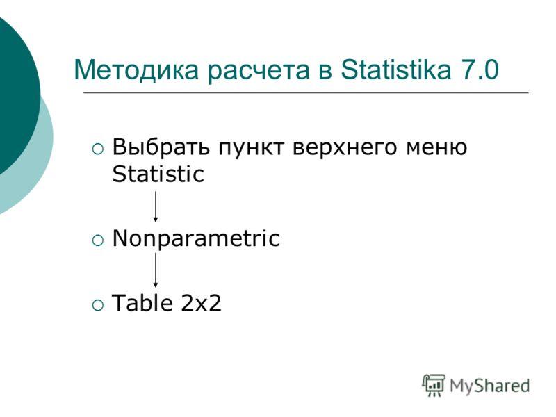 Методика расчета в Statistika 7.0 Выбрать пункт верхнего меню Statistic Nonparametric Table 2х2