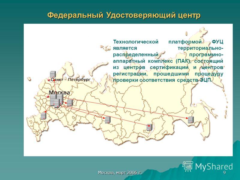 Москва, март 2006 г. 9 Федеральный Удостоверяющий центр Технологической платформой ФУЦ является территориально- распределенный программно- аппаратный комплекс (ПАК), состоящий из центров сертификации и центров регистрации, прошедшими процедуру провер