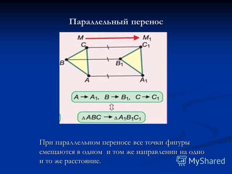 Параллельный перенос При параллельном переносе все точки фигуры смещаются в одном и том же направлении на одно и то же расстояние.