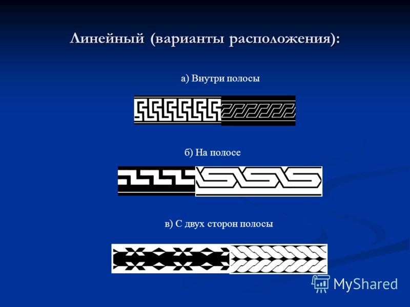 а) Внутри полосы б) На полосе в) С двух сторон полосы Линейный (варианты расположения):