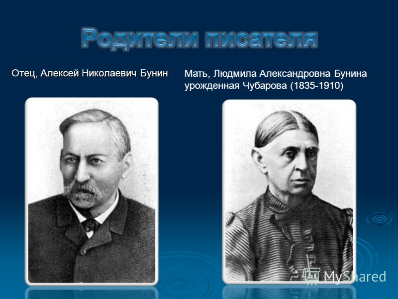 Отец, Алексей Николаевич Бунин Мать, Людмила Александровна Бунина урожденная Чубарова (1835-1910)