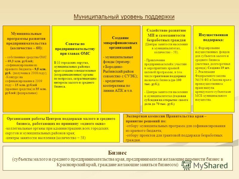Бизнес (субъекты малого и среднего предпринимательства края, предприниматели желающие перенести бизнес в Красноярский край, граждане желающие заняться бизнесом) Муниципальные программы развития предпринимательства (количество – 60): - собственные сре
