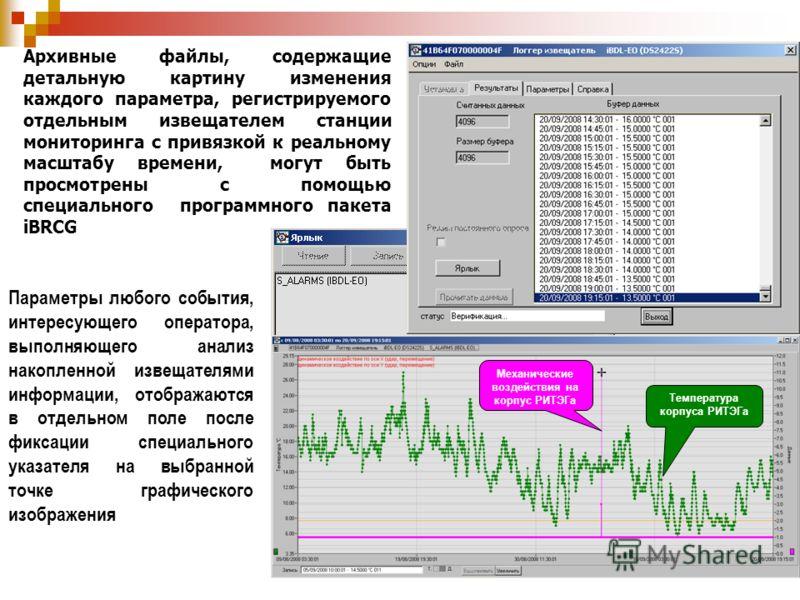 Архивные файлы, содержащие детальную картину изменения каждого параметра, регистрируемого отдельным извещателем станции мониторинга с привязкой к реальному масштабу времени, могут быть просмотрены с помощью специального программного пакета iBRCG Пара