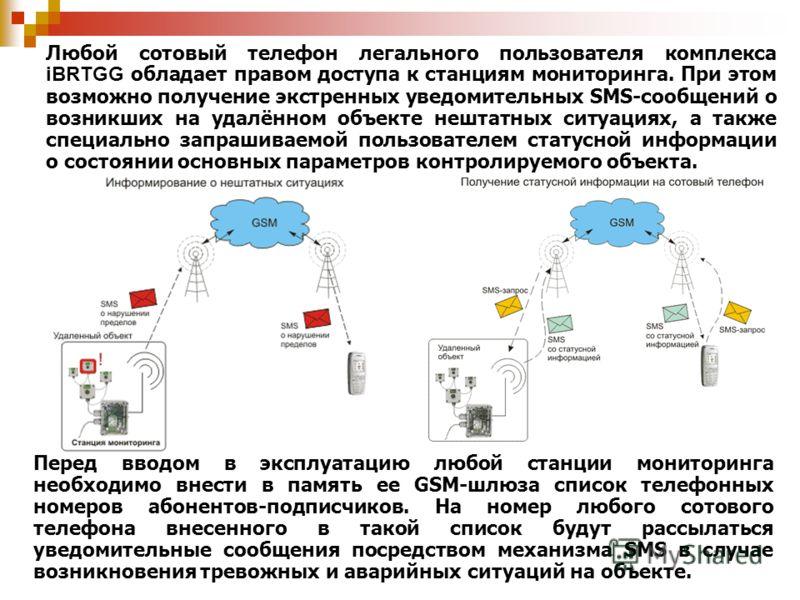 Перед вводом в эксплуатацию любой станции мониторинга необходимо внести в память ее GSM-шлюза список телефонных номеров абонентов-подписчиков. На номер любого сотового телефона внесенного в такой список будут рассылаться уведомительные сообщения поср