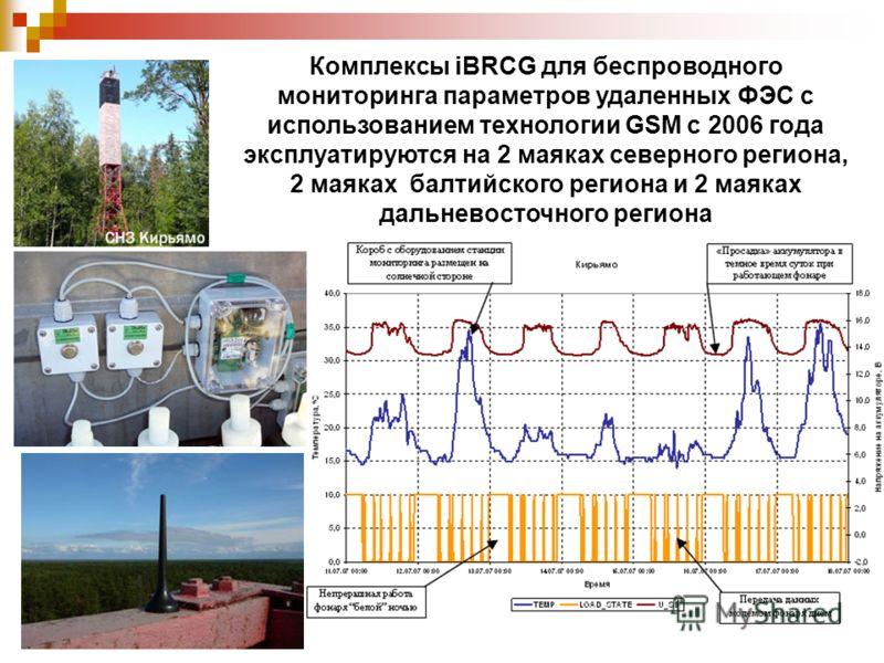 Комплексы iBRCG для беспроводного мониторинга параметров удаленных ФЭС с использованием технологии GSM с 2006 года эксплуатируются на 2 маяках северного региона, 2 маяках балтийского региона и 2 маяках дальневосточного региона