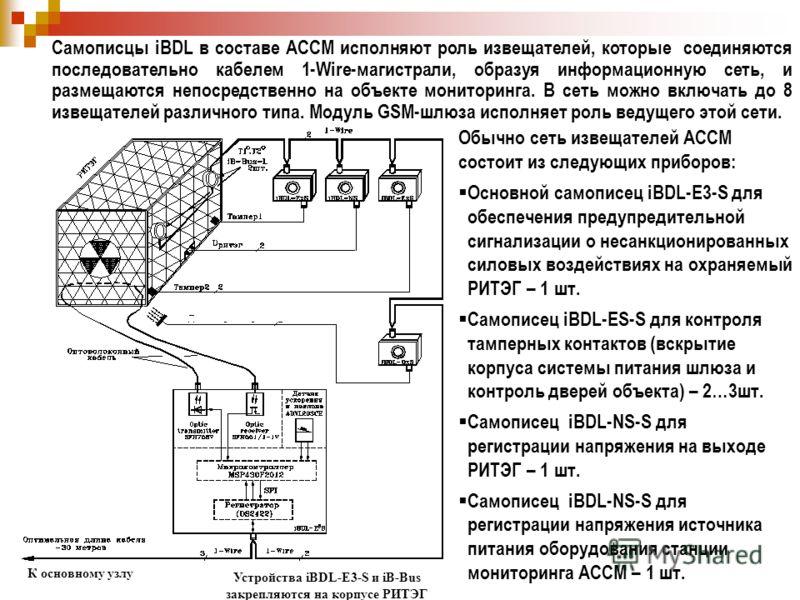 Обычно сеть извещателей АССМ состоит из следующих приборов: Основной самописец iBDL-E3-S для обеспечения предупредительной сигнализации о несанкционированных силовых воздействиях на охраняемый РИТЭГ – 1 шт. Самописец iBDL-ES-S для контроля тамперных