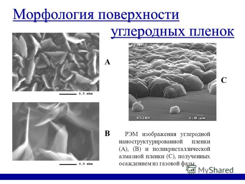 Морфология поверхности РЭМ изображения углеродной наноструктурированной пленки (А), (В) и поликристаллической алмазной пленки (С), полученных осаждением из газовой фазы. углеродных пленок A B C