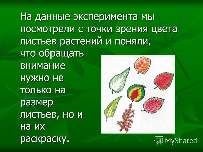 На данные эксперимента мы посмотрели с точки зрения цвета листьев растений и поняли, На данные эксперимента мы посмотрели с точки зрения цвета листьев растений и поняли, что обращать внимание нужно не только на размер листьев, но и на их раскраску. ч