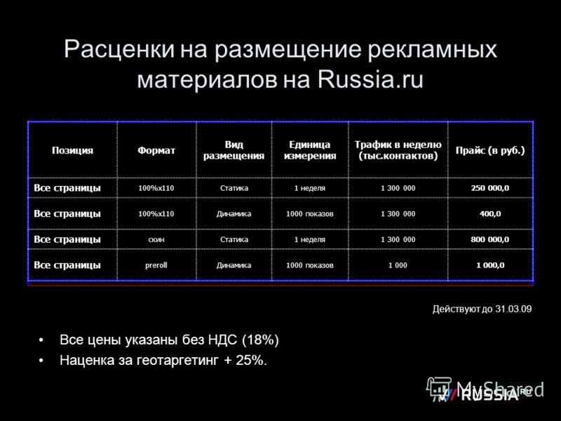 Расценки на размещение рекламных материалов на Russia.ru Действуют до 31.03.09 Все цены указаны без НДС (18%) Наценка за геотаргетинг + 25%. ПозицияФормат Вид размещения Единица измерения Трафик в неделю (тыс.контактов) Прайс (в руб.) Все страницы 10