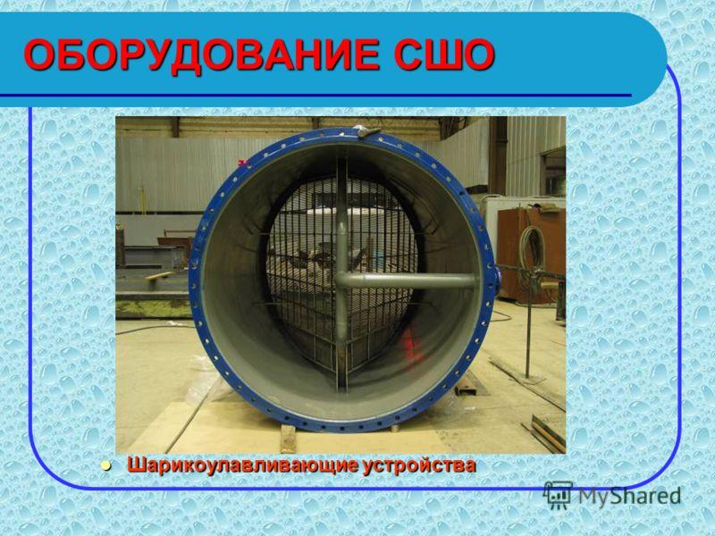 Оборудование шариковой очистки конденсаторов паровых турбин Принципиальная схема СШО 1. Конденсатор паровой турбины 2. Люк 3. Шарикоулавливающее устройство 4. Фильтр самоотмывающийся поворотный 5. Узел ввода шариков 6. Бак отработавших шариков 7. Кал