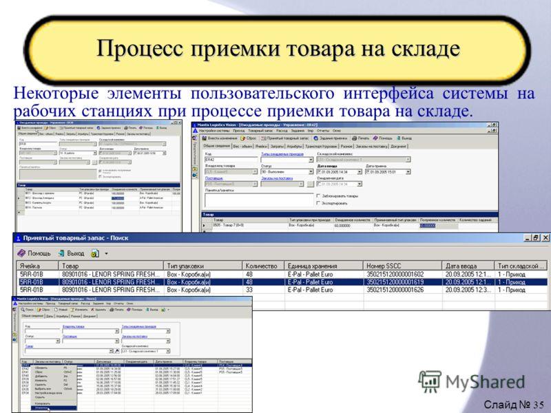Слайд 35 Процесс приемки товара на складе Некоторые элементы пользовательского интерфейса системы на рабочих станциях при процессе приемки товара на складе.