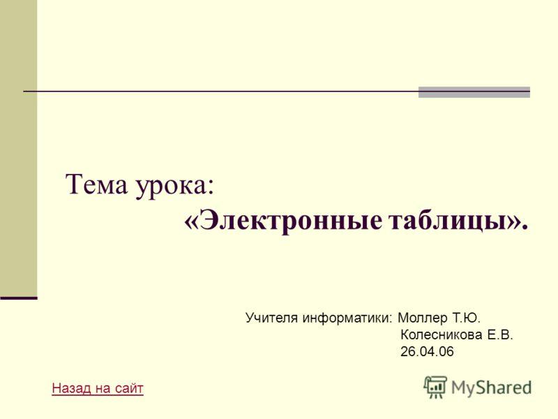 Тема урока: «Электронные таблицы». Назад на сайт Учителя информатики: Моллер Т.Ю. Колесникова Е.В. 26.04.06