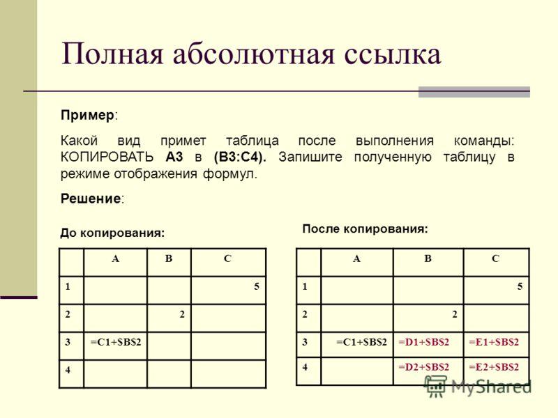 Полная абсолютная ссылка ABC 15 22 3=C1+$B$2 4 Пример: Какой вид примет таблица после выполнения команды: КОПИРОВАТЬ А3 в (В3:С4). Запишите полученную таблицу в режиме отображения формул. Решение: ABC 15 22 3=C1+$B$2=D1+$B$2=E1+$B$2 4=D2+$B$2=E2+$B$2