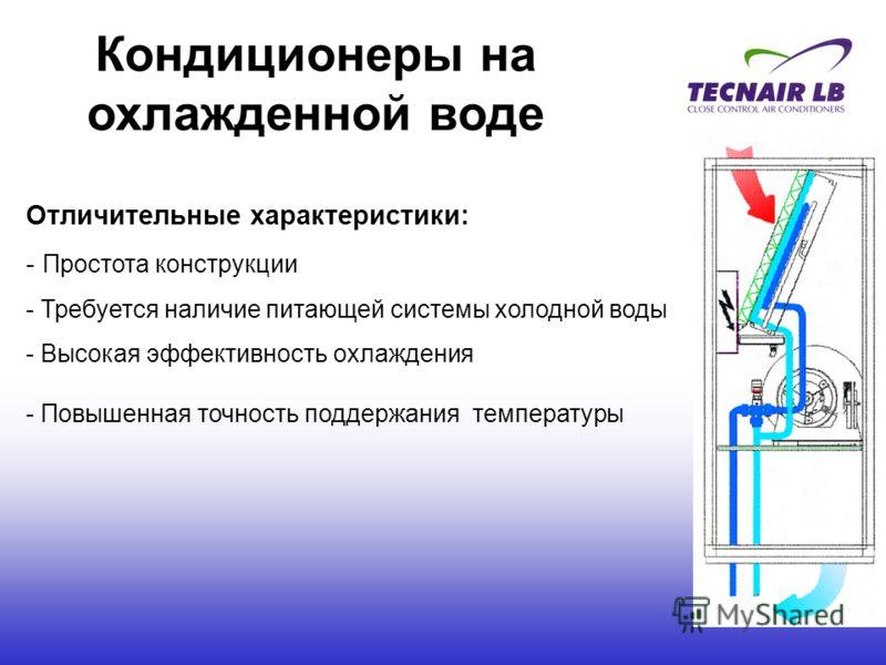 Кондиционеры на охлажденной воде Отличительные характеристики: - Простота конструкции - Требуется наличие питающей системы холодной воды - Высокая эффективность охлаждения - Повышенная точность поддержания температуры
