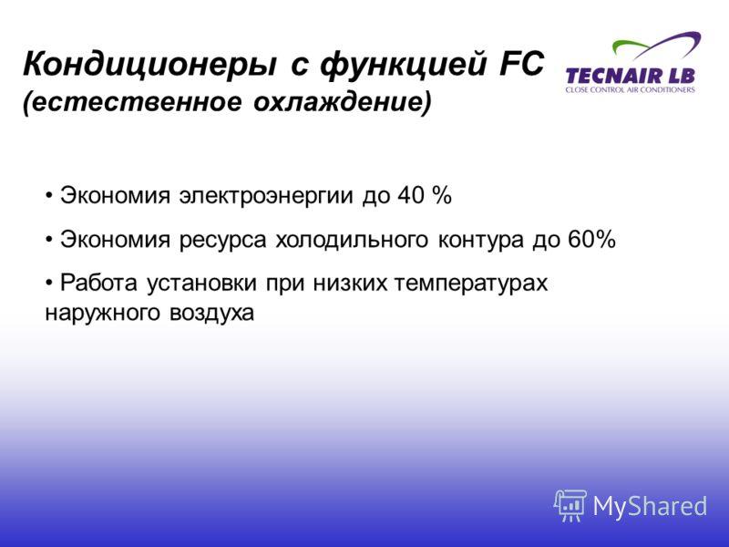 Экономия электроэнергии до 40 % Экономия ресурса холодильного контура до 60% Работа установки при низких температурах наружного воздуха Кондиционеры с функцией FC (естественное охлаждение)