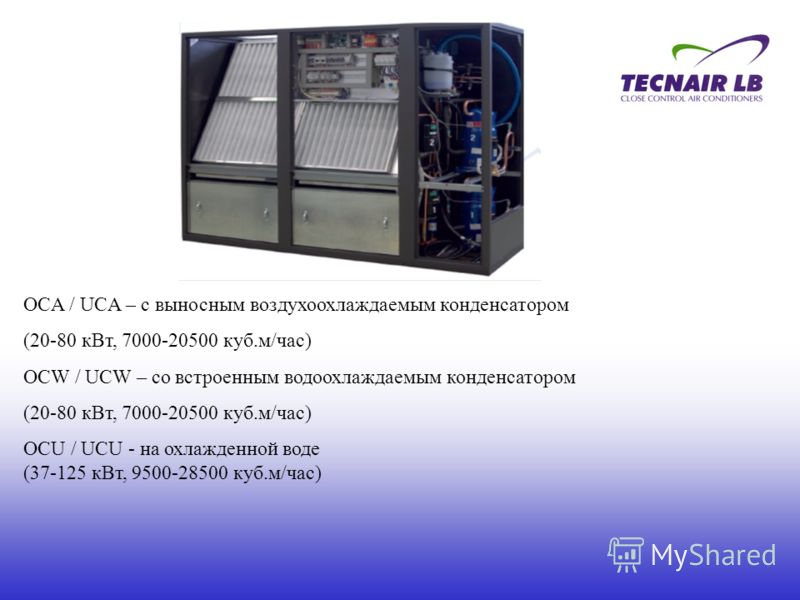OСA / UСA – с выносным воздухоохлаждаемым конденсатором (20-80 кВт, 7000-20500 куб.м/час) OСW / UСW – со встроенным водоохлаждаемым конденсатором (20-80 кВт, 7000-20500 куб.м/час) OСU / UСU - на охлажденной воде (37-125 кВт, 9500-28500 куб.м/час)