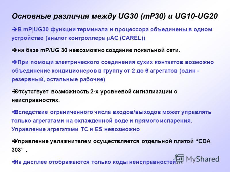 Основные различия между UG30 (mP30) и UG10-UG20 В mP|UG30 функции терминала и процессора объединены в одном устройстве (аналог контроллера AC (CAREL)) на базе mP/UG 30 невозможно создание локальной сети. При помощи электрического соединения сухих кон