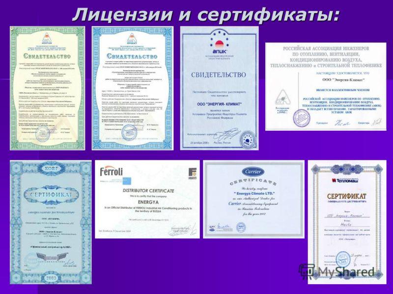 Лицензии и сертификаты: