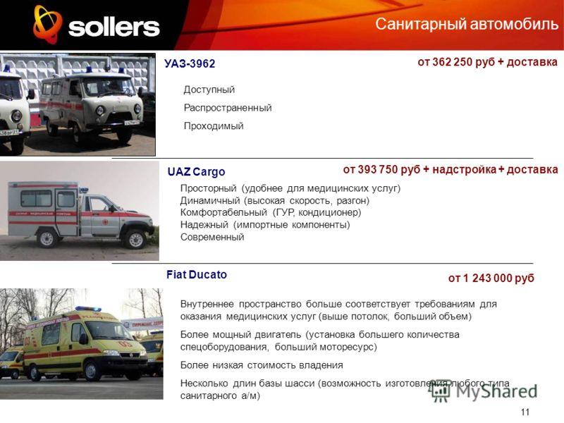 11 Санитарный автомобиль UAZ Cargo УАЗ-3962 Fiat Ducato Доступный Распространенный Проходимый Просторный (удобнее для медицинских услуг) Динамичный (высокая скорость, разгон) Комфортабельный (ГУР, кондиционер) Надежный (импортные компоненты) Современ